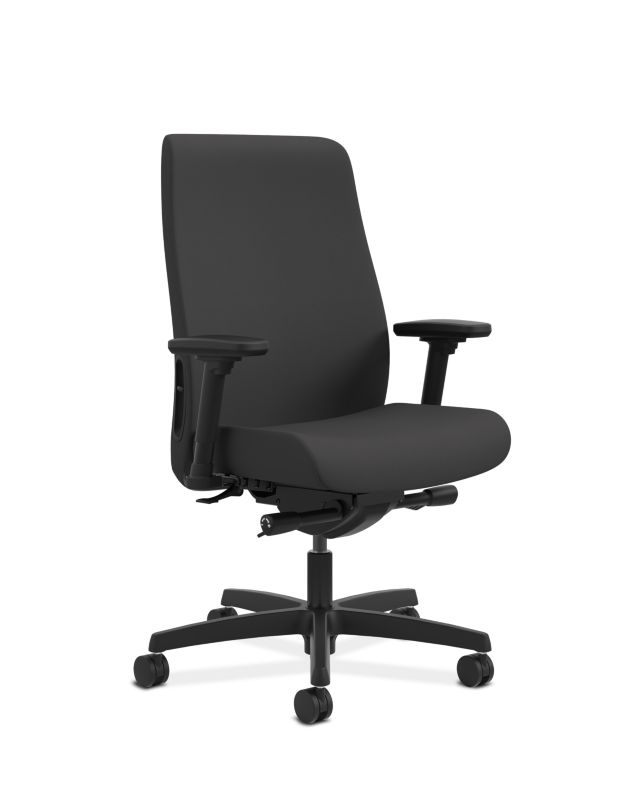 HON Endorse Collection Mid Back Task Chair Cerulean Black Adjustable Arms  Front Side View HLWU
