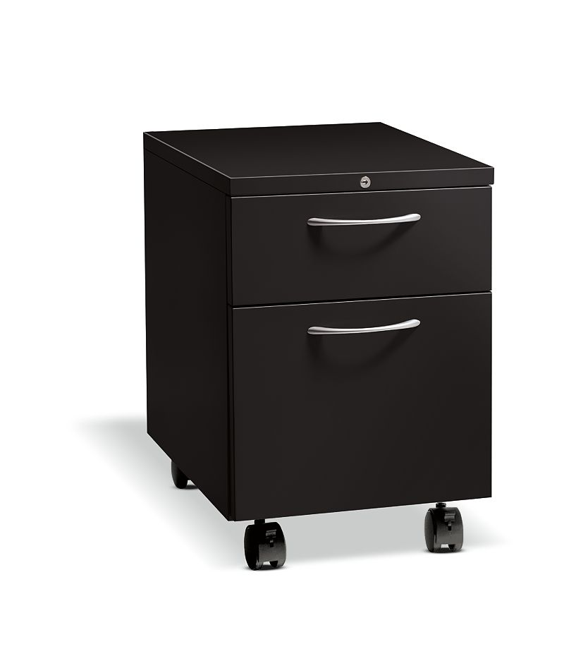 HON Flagship Mobile Pedestal Black Lock Front Side View H15923A.L.P