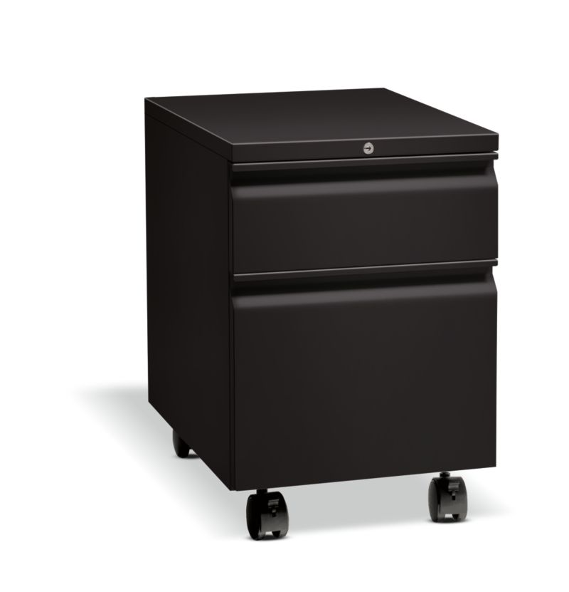 HON Flagship Mobile Pedestal Black Front Side View H15923R.L.P
