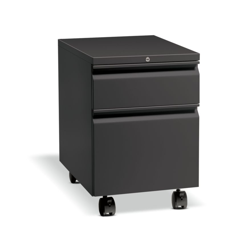 HON Flagship Mobile Pedestal Black Front Side View H15923R.L.S