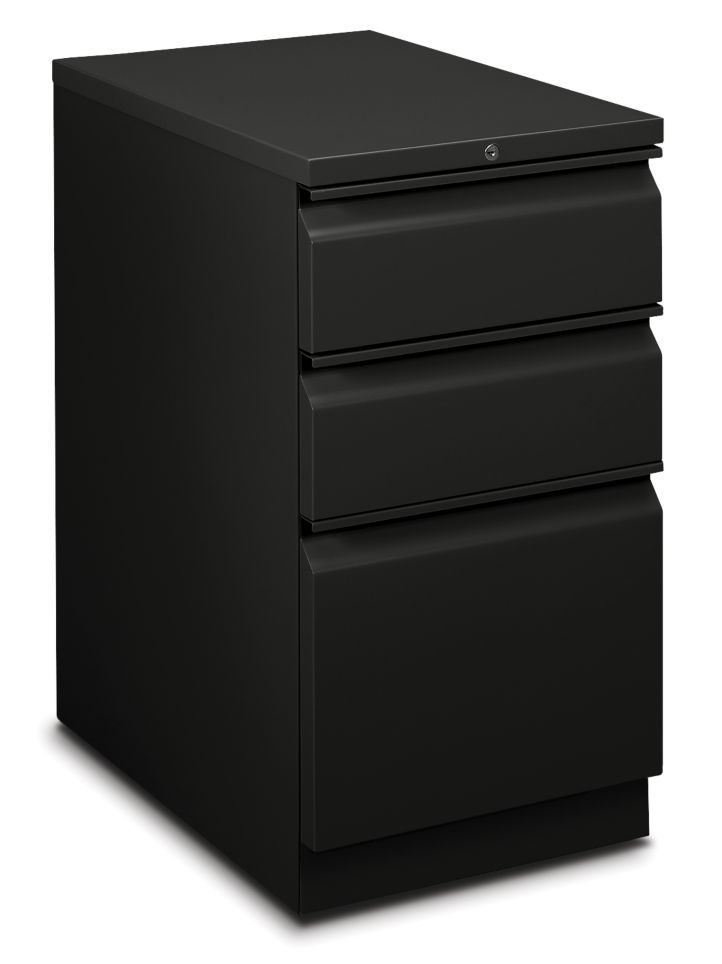 HON Flagship Mobile Pedestal Black Front Side View H18723R.L.P