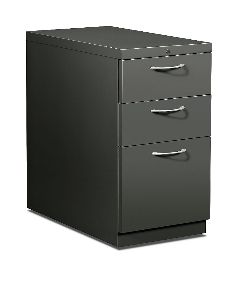 HON Flagship Mobile Pedestal Dark Gray Front Side View H18730A.L.S