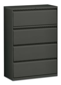 HON Flagship 4-Drawer Lateral File Gray Front Side View H9184R.L.S
