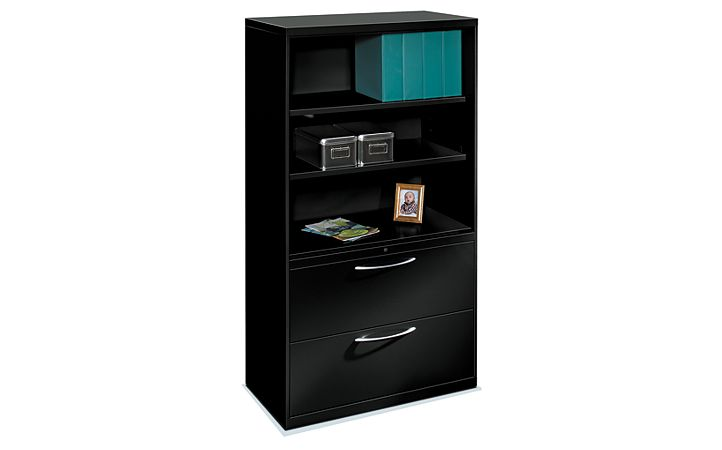 HON Flagship Lateral File Black Front Side View H9185LSNA.L.P