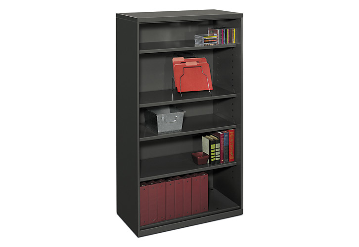 Attractive HON Flagship 5 Shelf Bookcase Black Front Side View HFSC183664W.S