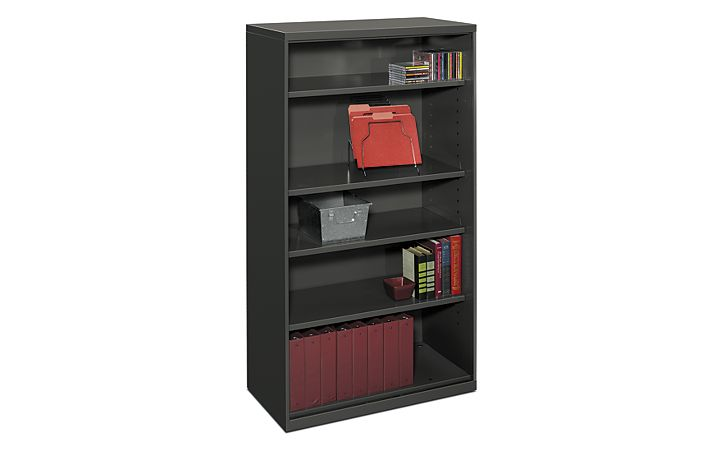 HON Flagship 5-Shelf Bookcase Black Front Side View HFSC183664W.S
