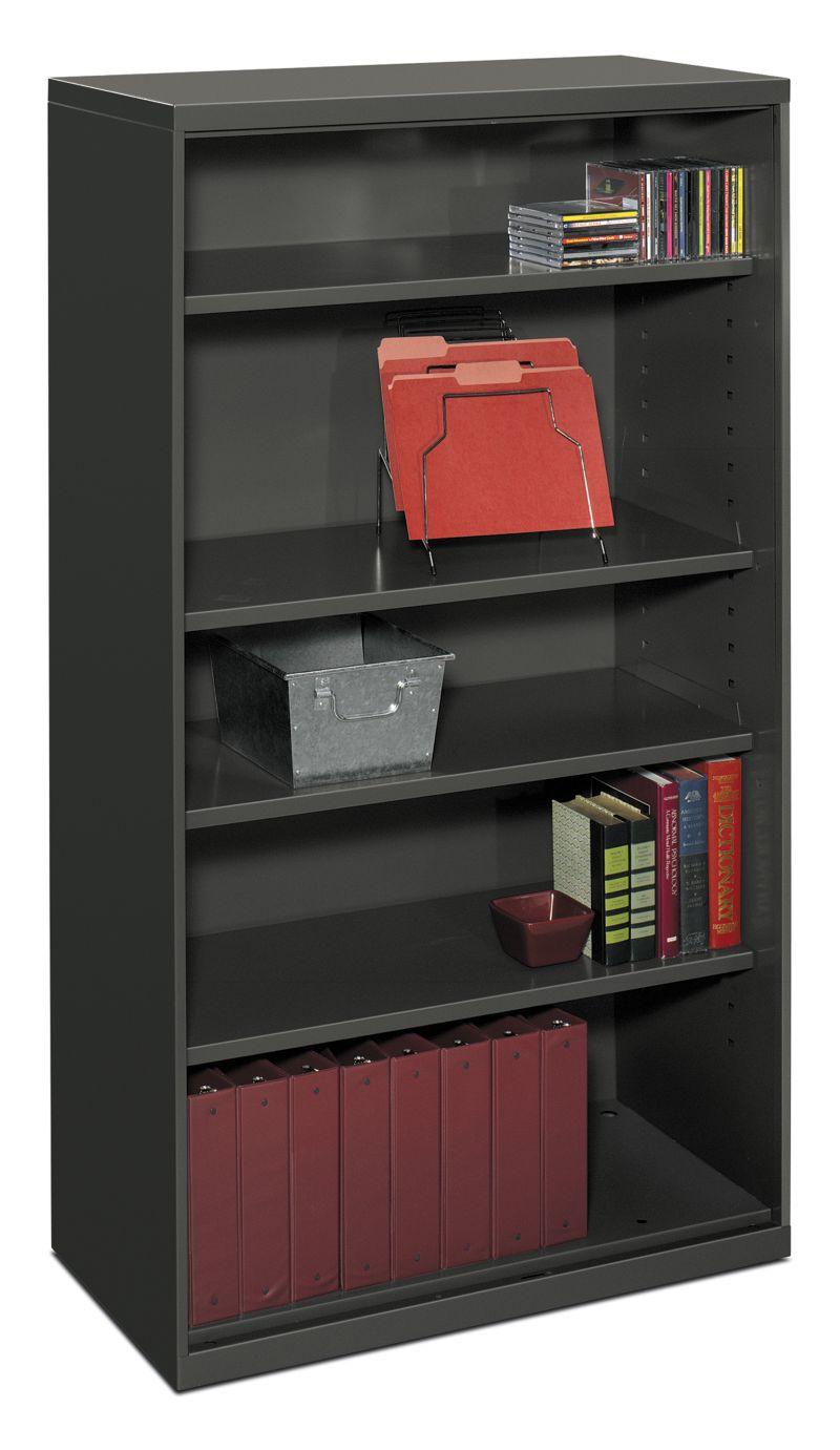 HON Flagship 5-Shelf Bookcase Black Front Side View HFSC183664W.S