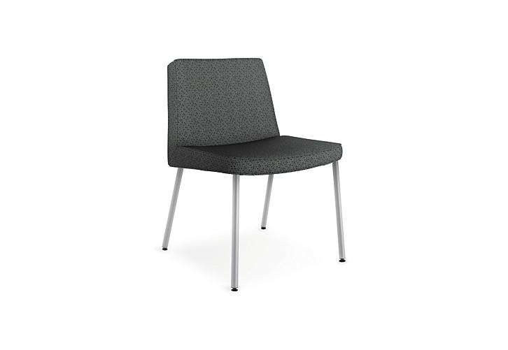 HON Flock Lounge Guest Chair Black Front Side View HFCL1.QD19.P6N