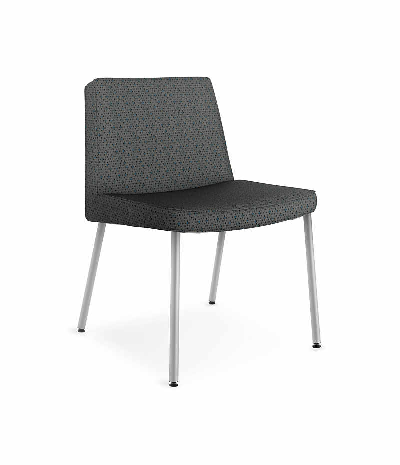 Awesome HON Flock Lounge Guest Chair Black Front Side View HFCL1.QD19.P6N