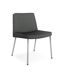 HON Flock Lounge Guest Chair Black Front Side View HFCL1.QD19.P6N
