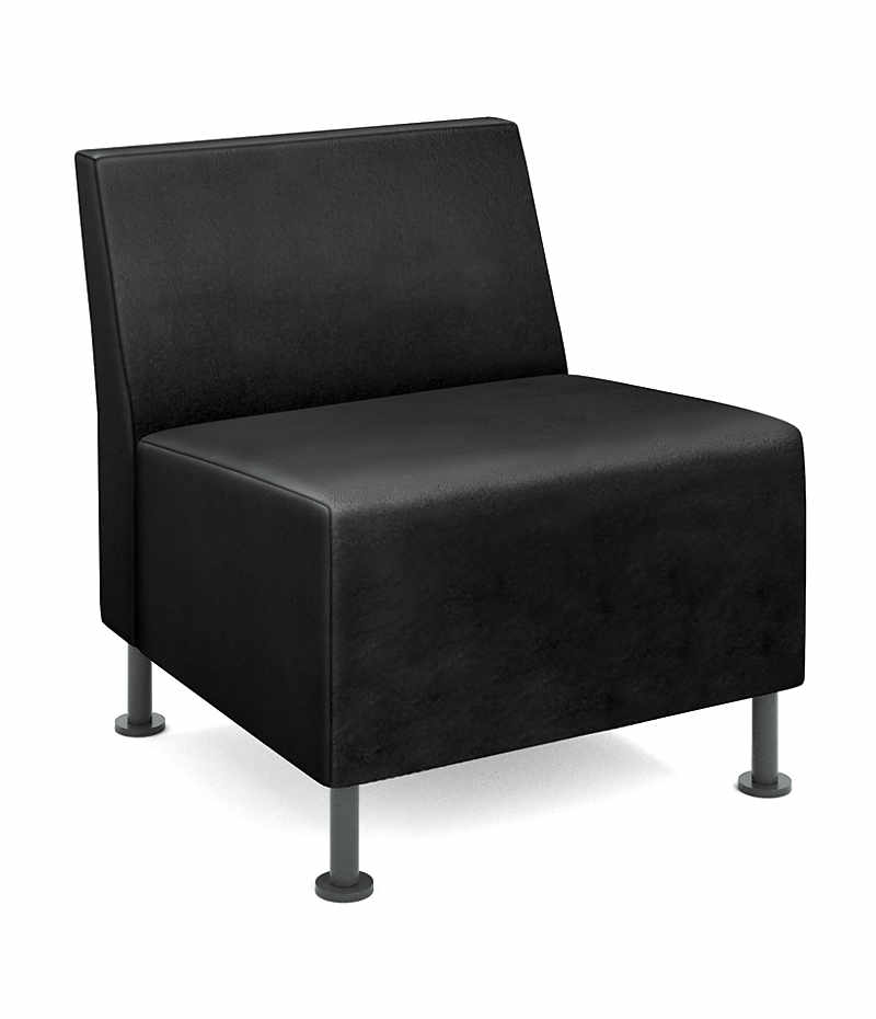 HON Flock Modular Chair Black Leather Front Side View HFLMC1.SS11.P7A