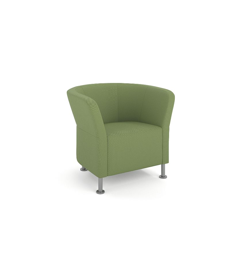 HON Flock Round Lounge Chair Green Front Side View HFLRC1.L.NR74.P6N