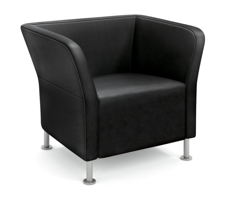 HON Flock Square Lounge Chair Black Front Side View HFLSC1.SS11.P6N