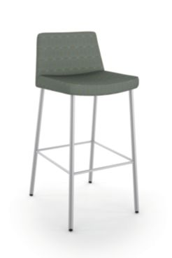HON Flock 4-Leg Stool Gray Armless Front Side View HFSS74L.DAI22.P6N