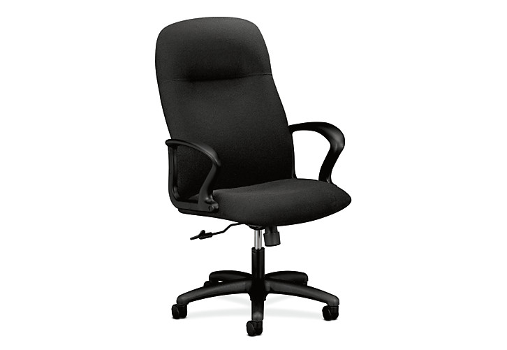 HON Gamut Executive High-Back Chair Confetti Black Fixed Arms Front Side View H2071.H.AB10.T