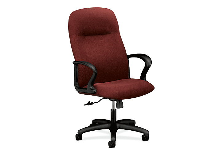 HON Gamut Executive High-Back Chair Confetti Burgundy Fixed Arms Front Side View H2071.H.AB62.T