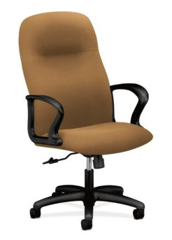 HON Gamut Executive High-Back Chair Centurion Caramel Fixed Arms Front Side View H2071.H.CU26.T