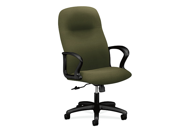 HON Gamut Executive High-Back Chair Centurion Olivine Fixed Arms Front Side View H2071.H.CU82.T