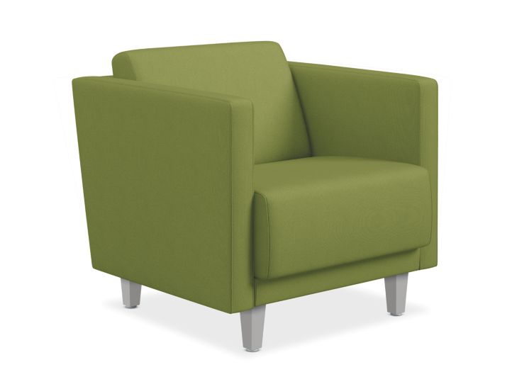 HON Grove Lounge Chair Green Straight Arms Front Side View HML1S.A.PNS005.TS.P6N