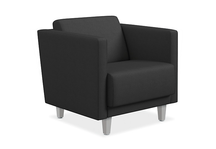 HON Grove Lounge Chair Black Straight Arms Front Side View HML1S.A.PNS008.TS.P6N