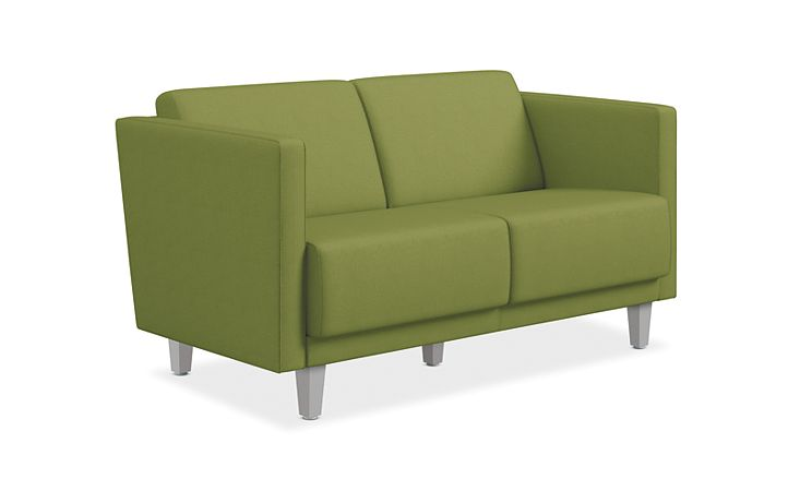 HON Grove Two Seat Lounge Green Straight Arms Front Side View HML2S.A.PNS005.TS.P6N