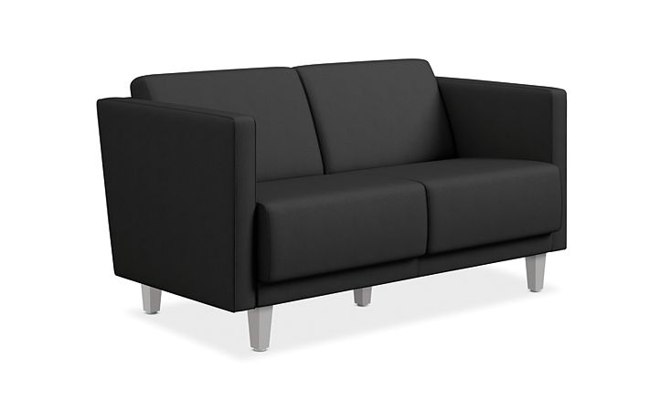 HON Grove Two Seat Lounge Black Straight Arms Front Side View HML2S.A.PNS008.TS.P6N