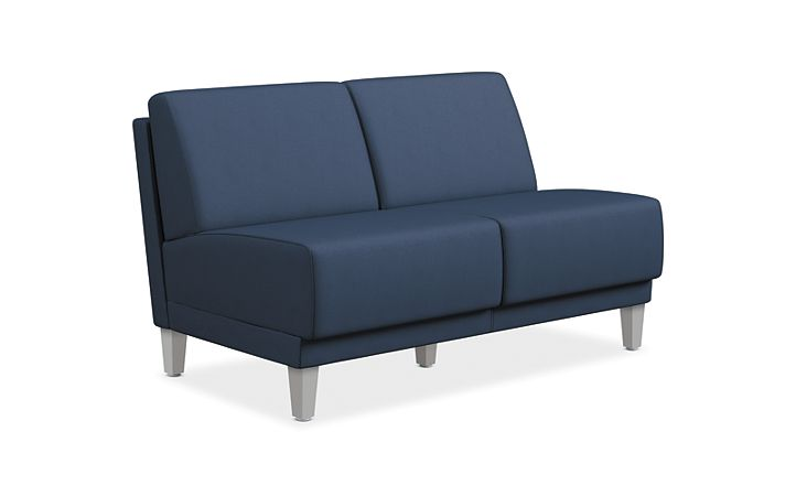 HON Grove Two Seat Lounge Blue Armless Front Side View HML2S.A.PNS007.TS.P6N