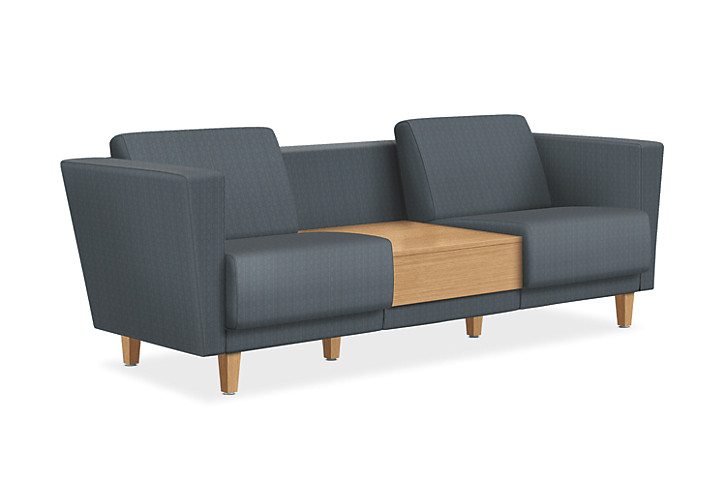 HON Grove Two Seat Lounge With Table Gray Tapered Arms Front Side View  HML2ST.B