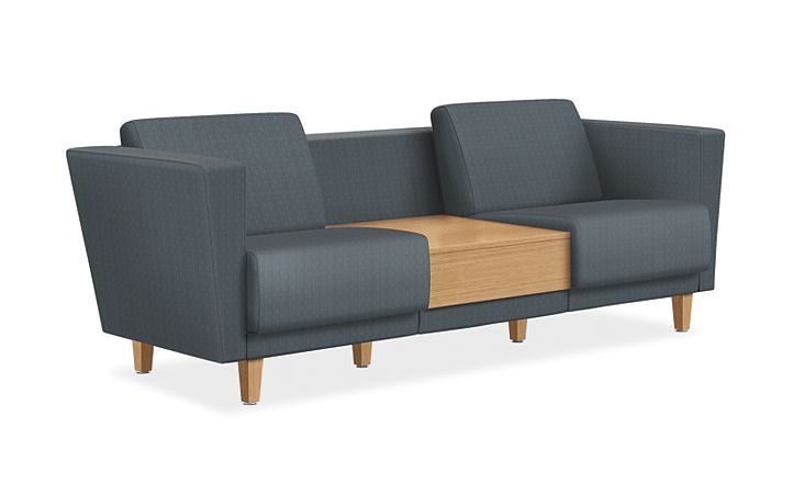 HON Grove Two Seat Lounge with Table Gray Tapered Arms Front Side View HML2ST.B.HVE77.TS.LNR1.LNR1.N.0