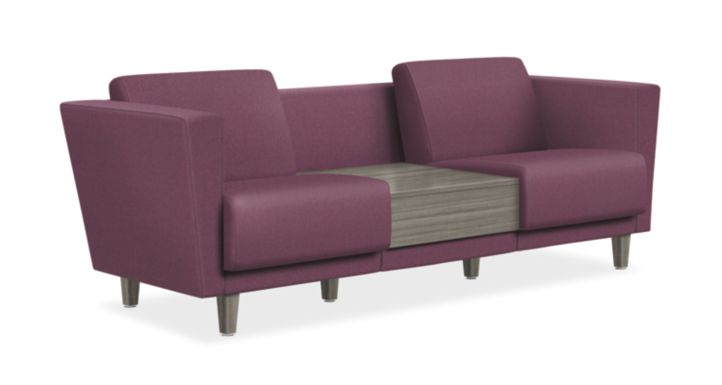 HON Grove Two Seat Lounge with Table Purple Tapered Arms Front Side View HML2ST.B.OUT28.TS.LPT1.LPT1.N.0