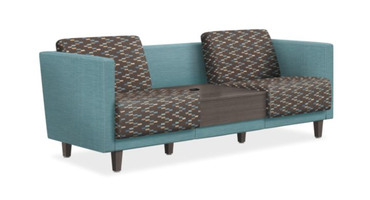HON Grove Two Seat Lounge with Table Light Blue with Zig Zag Pattern Seats Tapered Arms Front Side View HML2STDF.A.GRV81.CNN07.TS.LSW1.LSW1.G.0