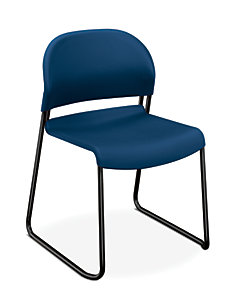 HON GuestStacker High-Density Stacking Chair Blue Armless Front Side View H4031.90.T