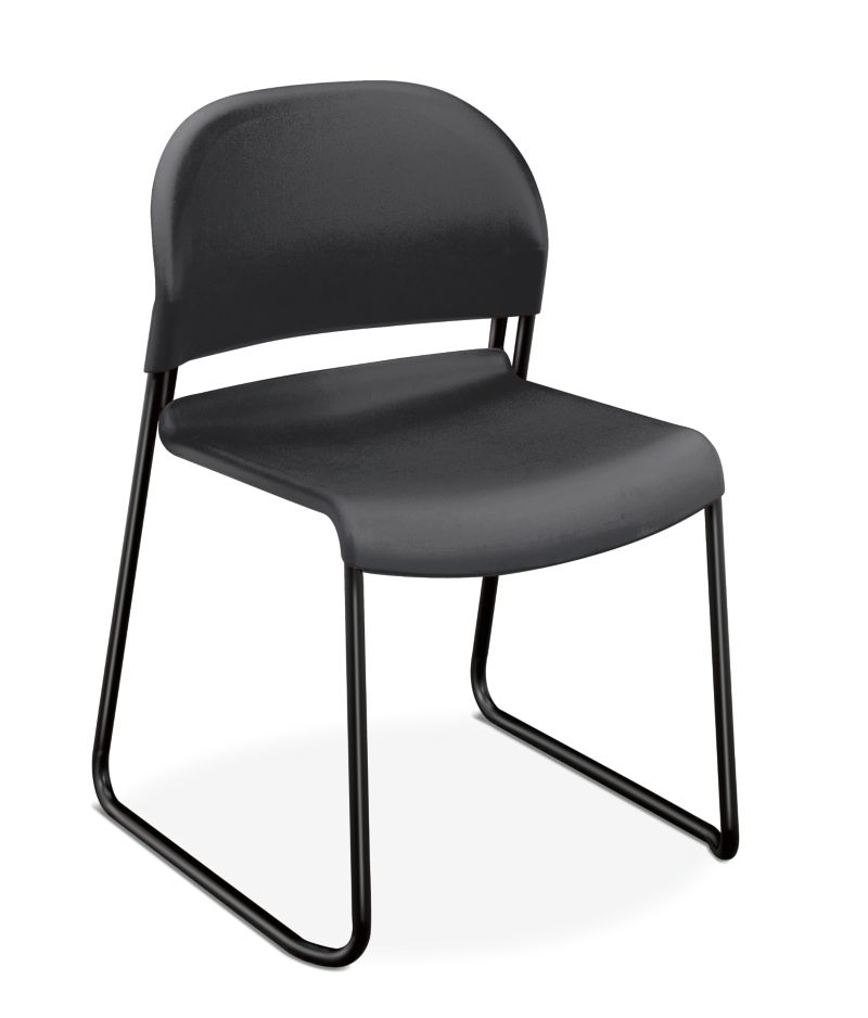 HON GuestStacker High-Density Stacking Chair Black Armless Front Side View H4031.LA.T
