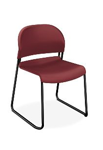 HON GuestStacker High-Density Stacking Chair Red Armless Front Side View H4031.MB.T