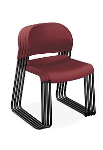 HON GuestStacker High-Density Stacking Chairs Red Armless Side View H4031.MB.T