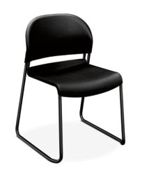 HON GuestStacker High-Density Stacking Chair Black Armless Front Side View H4031.ON.T