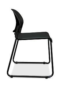 HON GuestStacker High-Density Stacking Chair Black Armless Side View H4031.ON.T