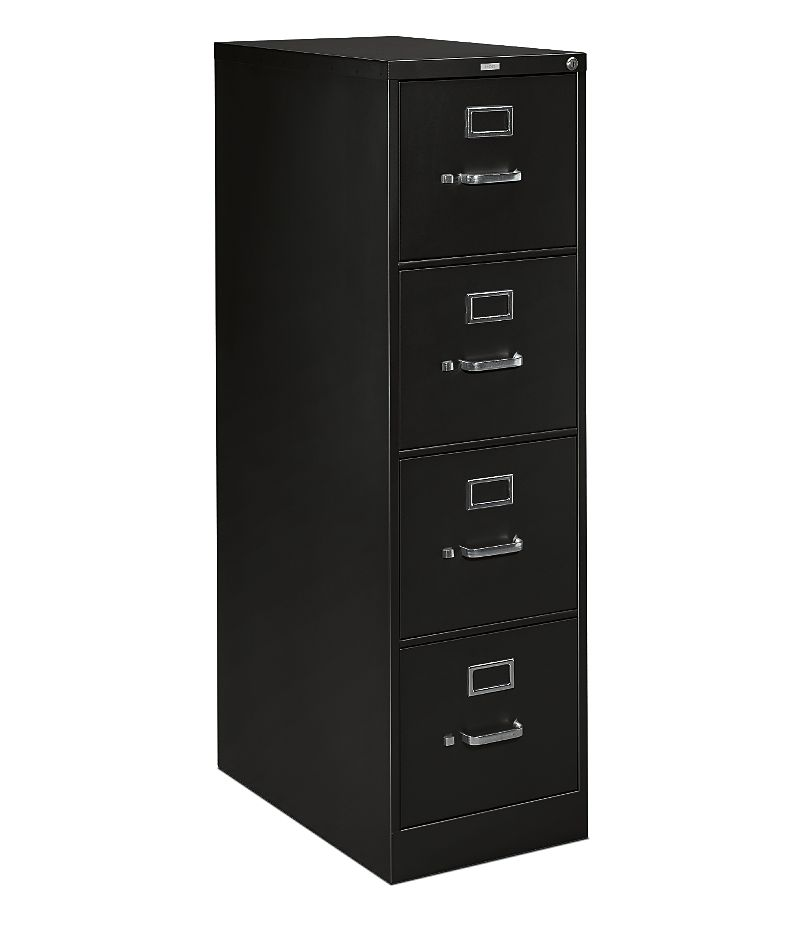 HON H320Series 4-Drawer Vertical File Black Front Side View HH324.P.P