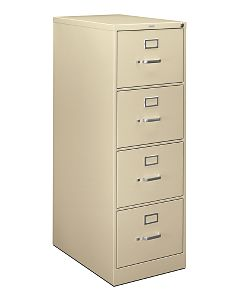 HON H320Series 4-Drawer Vertical File Light Brown Front Side View HH324C.P.L
