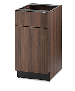 HON Hospitality Cabinets Modular Single Base Cabinet Brown Front Side View HPBC1D1D18.Z
