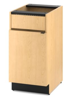 HON Hospitality Cabinets Modular Single Waste Management Cabinet Light Brown Front Side View HPBC1F1D18.D