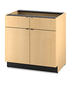HON Hospitality Cabinets Modular Double Base Cabinet Natural Maple Color Front Side View HPBC2D2D36.D