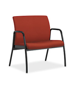 HON Ignition Bariatric Chair Upholstered Back Centurion Poppy Color Fixed Arms Front Side View H1B50.F.E.U.CU42.T