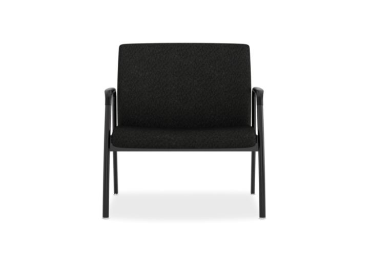 HON Ignition Bariatric Chair Upholstered Back Tectonic Black Color Fixed Arms Front View HIB50.NT10.T