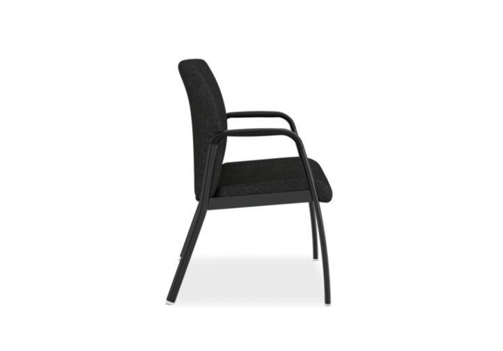 HON Ignition Bariatric Chair Upholstered Back Tectonic Black Color Fixed Arms Side View HIB50.NT10.T