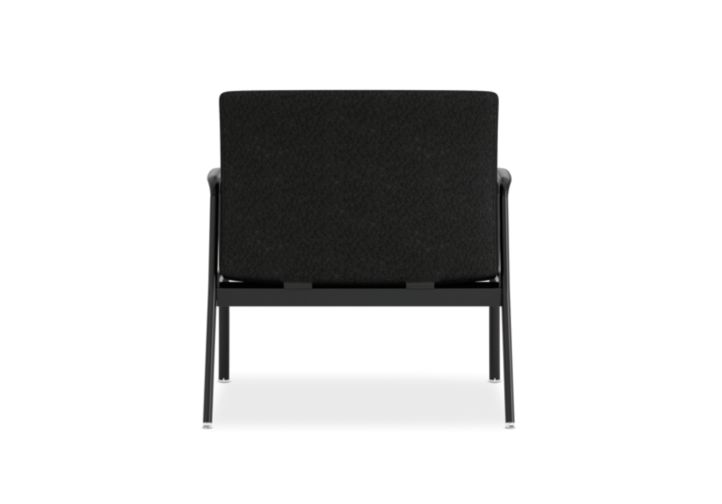 HON Ignition Bariatric Chair Upholstered Back Tectonic Black Color Fixed Arms Back View HIB50.NT10.T