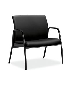 HON Ignition Bariatric Chair Upholstered Back Black Leather Fixed Arms Front Side View HIB50.SS11.T