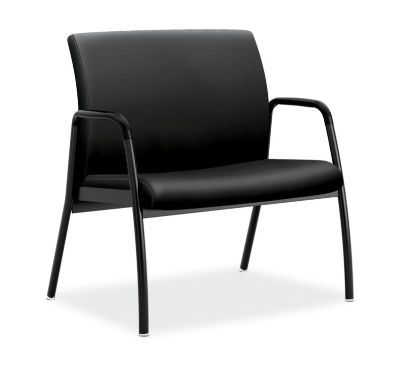 HON Ignition Bariatric Chair Upholstered Back Black Leather Fixed Arms  Front Side View HIB50.SS11