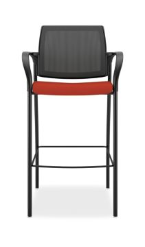 HON Ignition Cafe-Height Stool Mesh Back Centurion Poppy Color Fixed Arms Front View HICS7.F.E.M.CU42.T