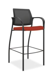 HON Ignition Cafe-Height Stool Mesh Back Centurion Poppy Color Fixed Arms Front Side View HICS7.F.E.M.CU42.T
